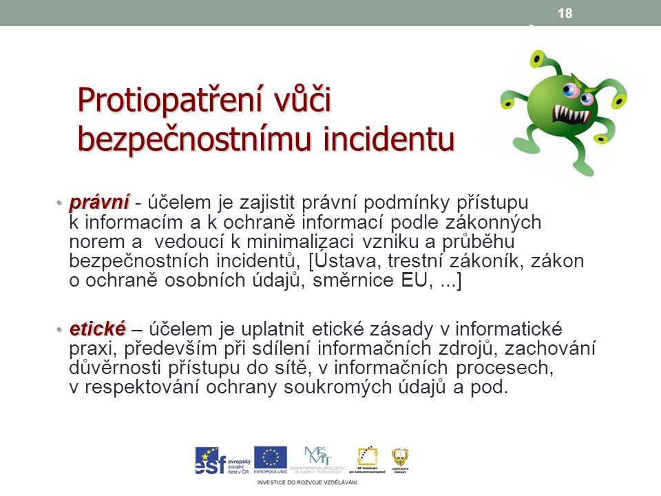 18 právní právní - účelem je zajistit právní podmínky přístupu k informacím a k ochraně informací podle zákonných norem a vedoucí k minimalizaci vzniku a průběhu bezpečnostních incidentů, [Ústava, trestní zákoník, zákon o ochraně osobních údajů, směrnice EU,...] etické etické – účelem je uplatnit etické zásady v informatické praxi, především při sdílení informačních zdrojů, zachování důvěrnosti přístupu do sítě, v informačních procesech, v respektování ochrany soukromých údajů a pod.
