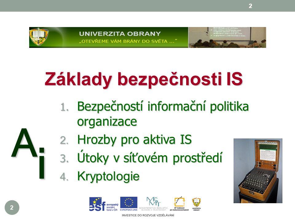2 2 A i 2 Základy bezpečnosti IS 1. Bezpečností informační politika organizace 2.