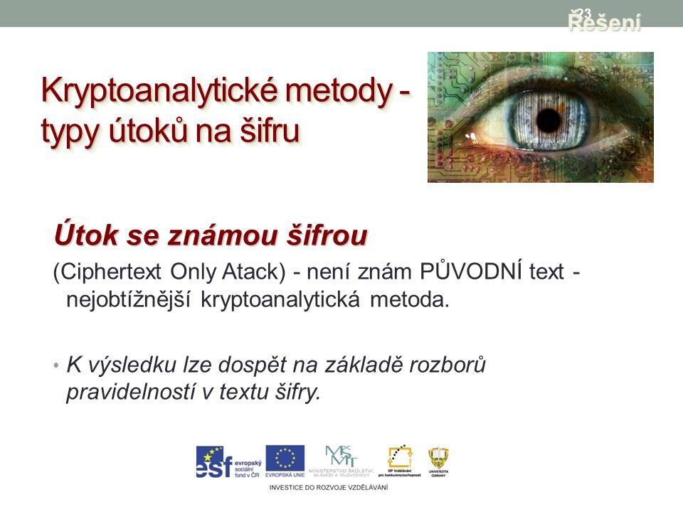 23 Kryptoanalytické metody - typy útoků na šifru Řešení Útok se známou šifrou (Ciphertext Only Atack) - není znám PŮVODNÍ text - nejobtížnější kryptoanalytická metoda.