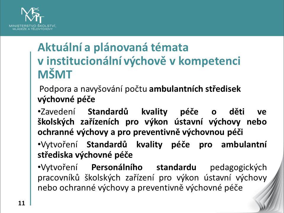 11 Aktuální a plánovaná témata v institucionální výchově v kompetenci MŠMT Podpora a navyšování počtu ambulantních středisek výchovné péče Zavedení Standardů kvality péče o děti ve školských zařízeních pro výkon ústavní výchovy nebo ochranné výchovy a pro preventivně výchovnou péči Vytvoření Standardů kvality péče pro ambulantní střediska výchovné péče Vytvoření Personálního standardu pedagogických pracovníků školských zařízení pro výkon ústavní výchovy nebo ochranné výchovy a preventivně výchovné péče