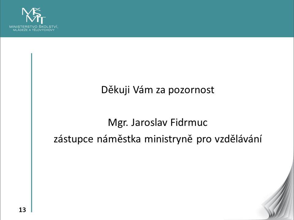13 Děkuji Vám za pozornost Mgr. Jaroslav Fidrmuc zástupce náměstka ministryně pro vzdělávání