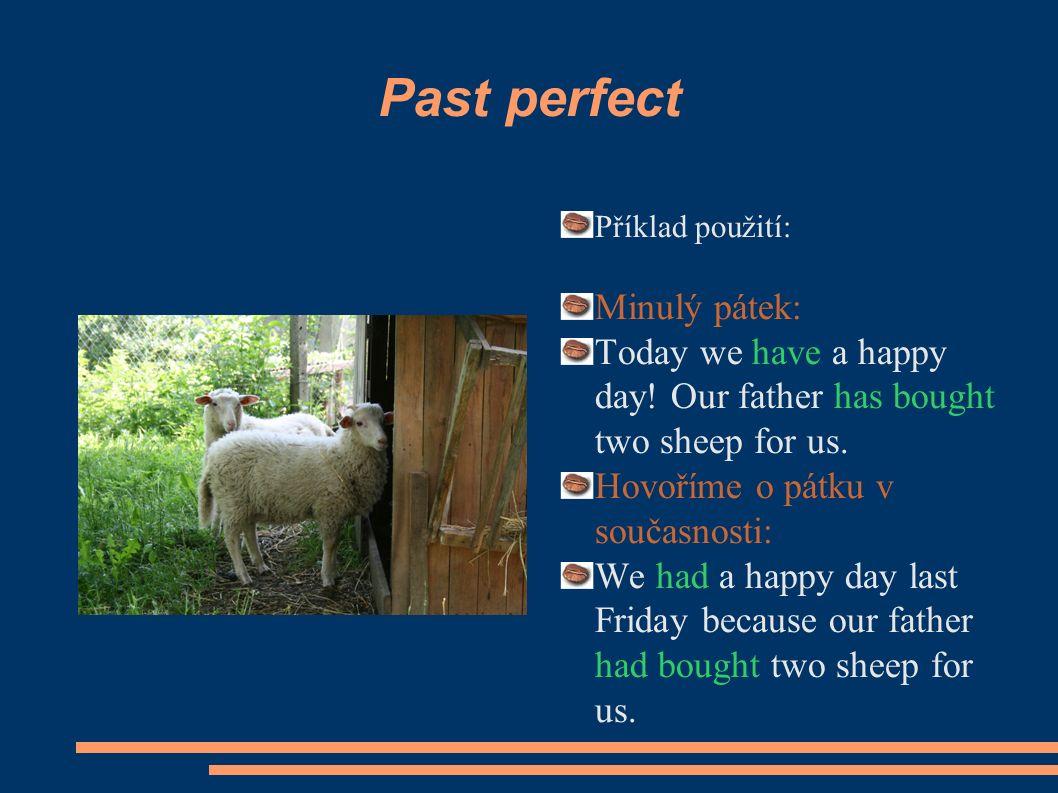 Past perfect Příklad použití: Minulý pátek: Today we have a happy day.