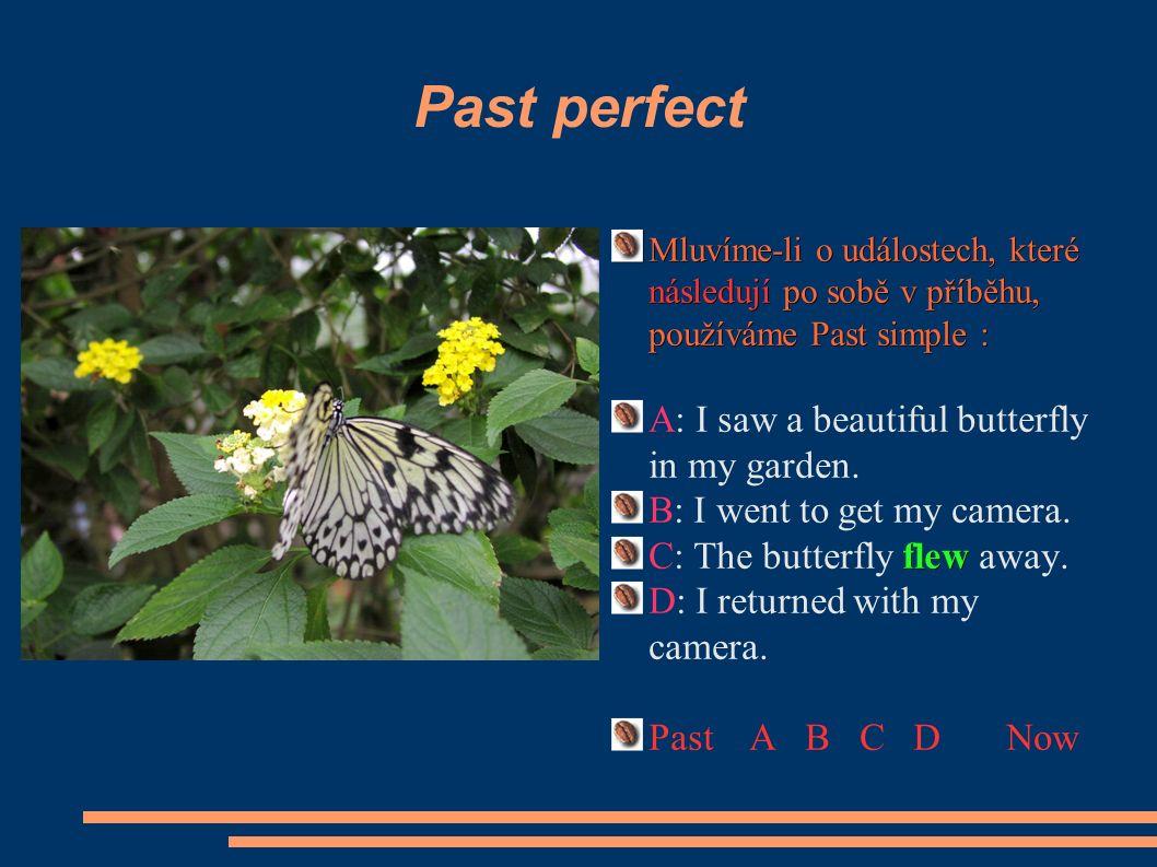 Past perfect Chceme-li zdůraznit, že jeden děj nastal v jiném časovém sledu(předcházel jinému ději), užíváme Past perfect: D:I returned with my camera.
