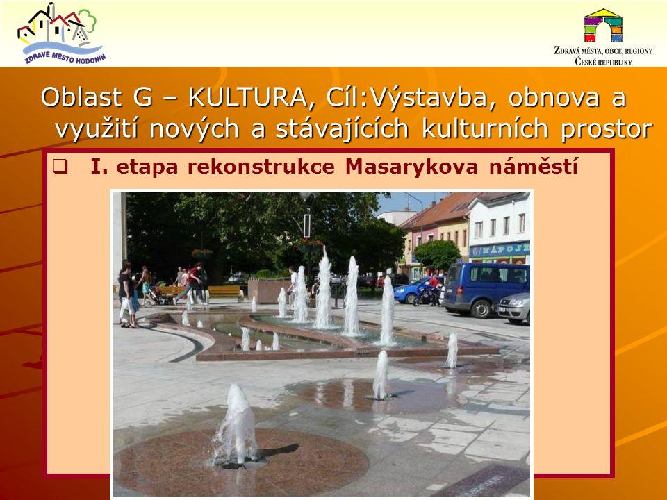 Oblast G – KULTURA, Cíl:Výstavba, obnova a využití nových a stávajících kulturních prostor  I.