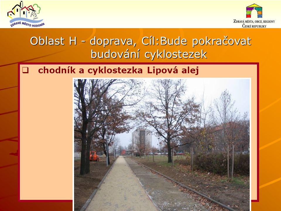 Oblast H - doprava, Cíl:Bude pokračovat budování cyklostezek  chodník a cyklostezka Lipová alej