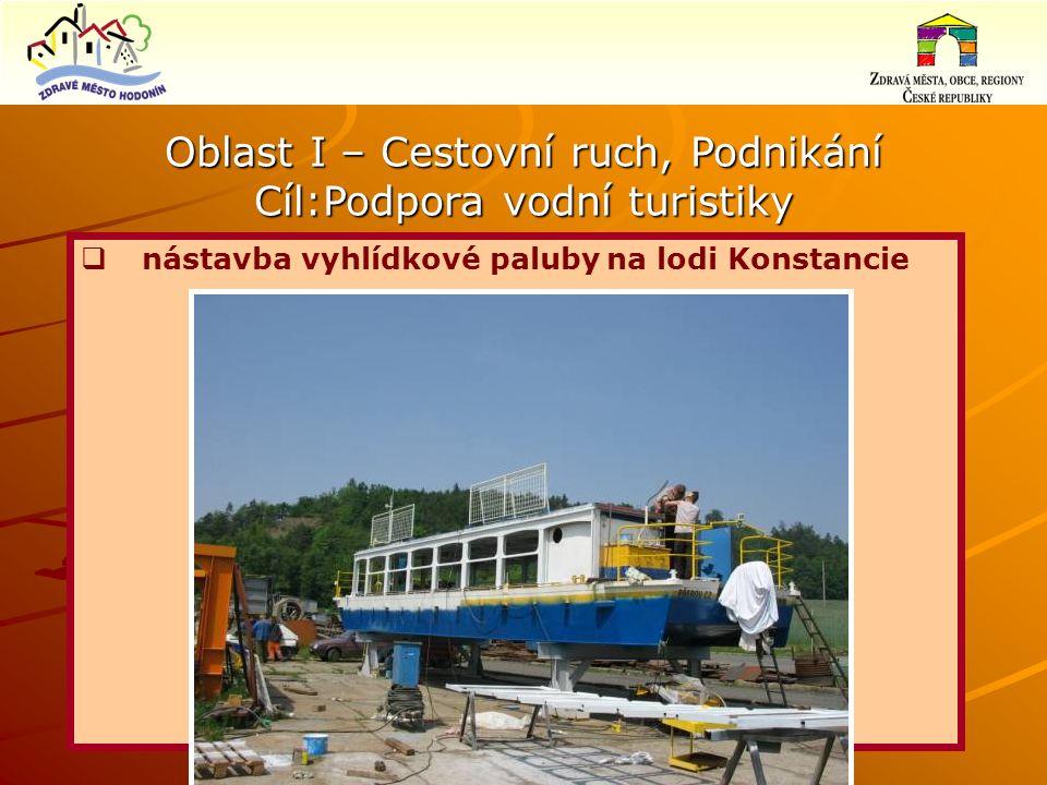 Oblast I – Cestovní ruch, Podnikání Cíl:Podpora vodní turistiky  nástavba vyhlídkové paluby na lodi Konstancie