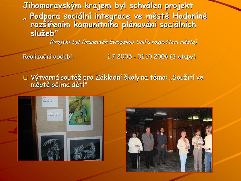 """Jihomoravským krajem byl schválen projekt """" Podpora sociální integrace ve městě Hodoníně rozšířením komunitního plánování sociálních služeb (Projekt byl financován Evropskou Unií a rozpočtem města) Realizační období:1.7.2005 - 31.10.2006 (3 etapy)  Výtvarná soutěž pro Základní školy na téma: """"Soužití ve městě očima dětí"""