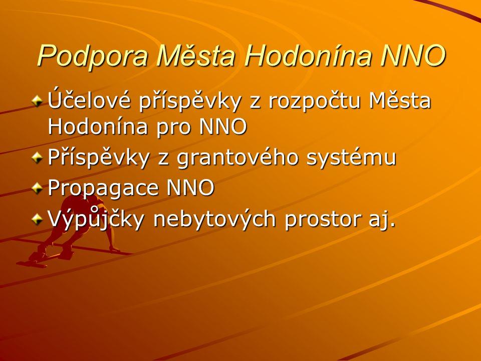 Podpora Města Hodonína NNO Účelové příspěvky z rozpočtu Města Hodonína pro NNO Příspěvky z grantového systému Propagace NNO Výpůjčky nebytových prostor aj.