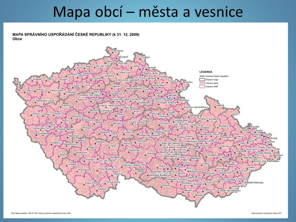 Mapa obcí – města a vesnice