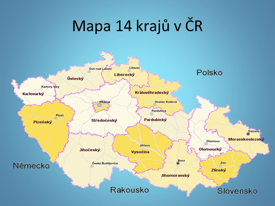 Mapa 14 krajů v ČR