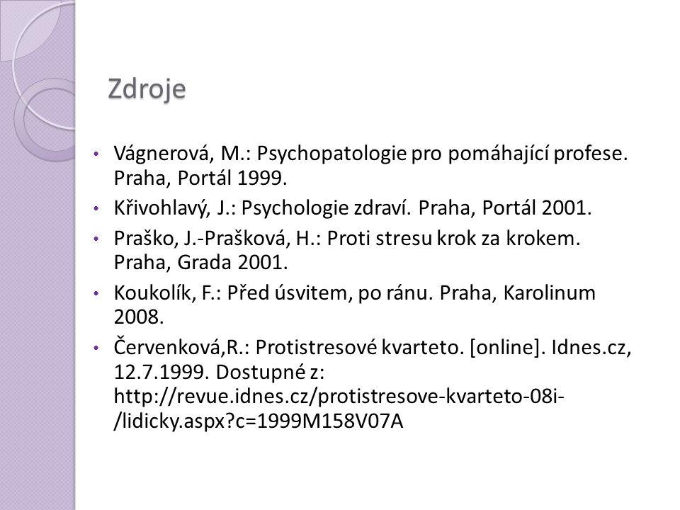 Zdroje Vágnerová, M.: Psychopatologie pro pomáhající profese. Praha, Portál 1999. Křivohlavý, J.: Psychologie zdraví. Praha, Portál 2001. Praško, J.-P