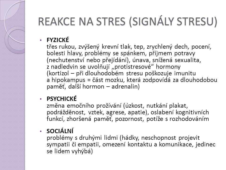 REAKCE NA STRES (SIGNÁLY STRESU) FYZICKÉ třes rukou, zvýšený krevní tlak, tep, zrychlený dech, pocení, bolesti hlavy, problémy se spánkem, příjmem pot