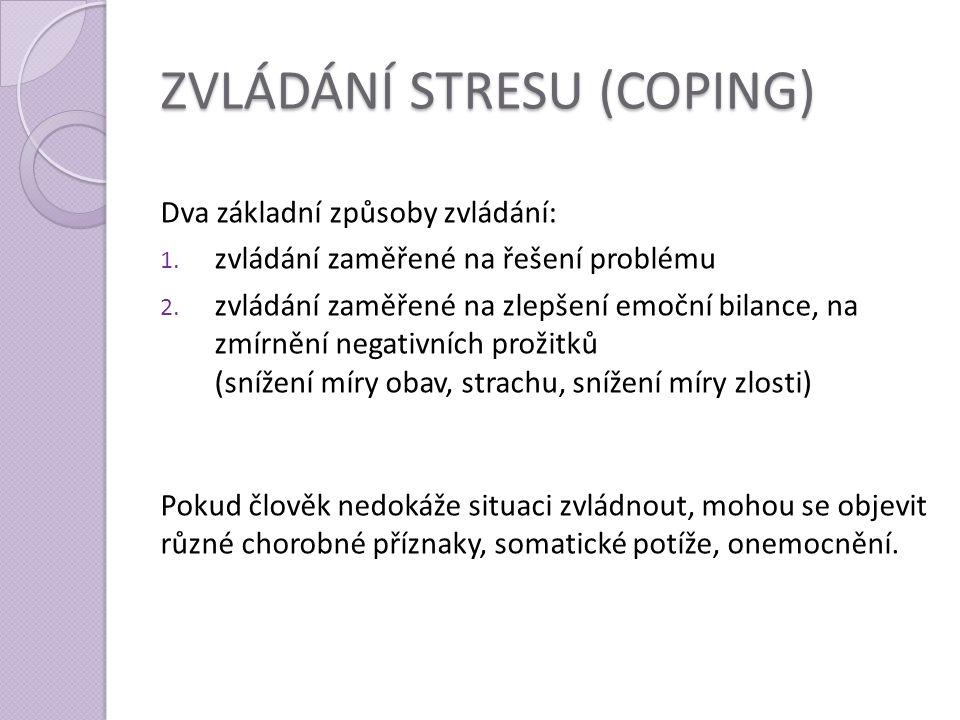 ZVLÁDÁNÍ STRESU (COPING) Dva základní způsoby zvládání: 1. zvládání zaměřené na řešení problému 2. zvládání zaměřené na zlepšení emoční bilance, na zm