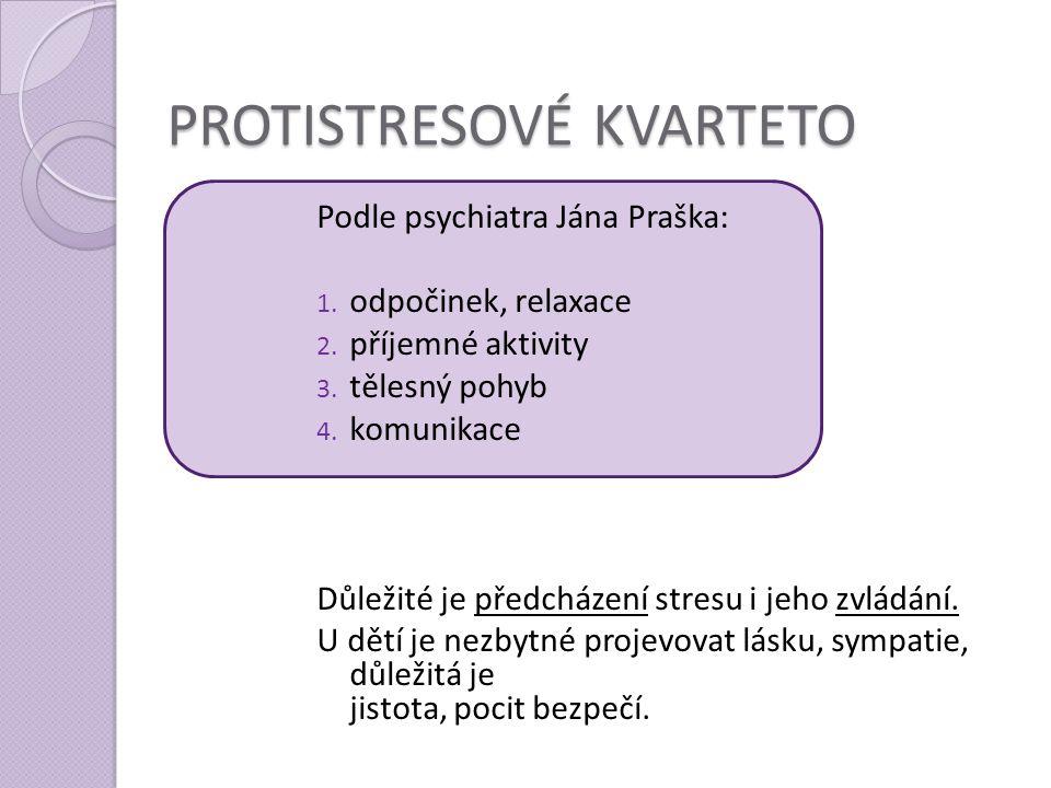 PROTISTRESOVÉ KVARTETO Podle psychiatra Jána Praška: 1. odpočinek, relaxace 2. příjemné aktivity 3. tělesný pohyb 4. komunikace Důležité je předcházen