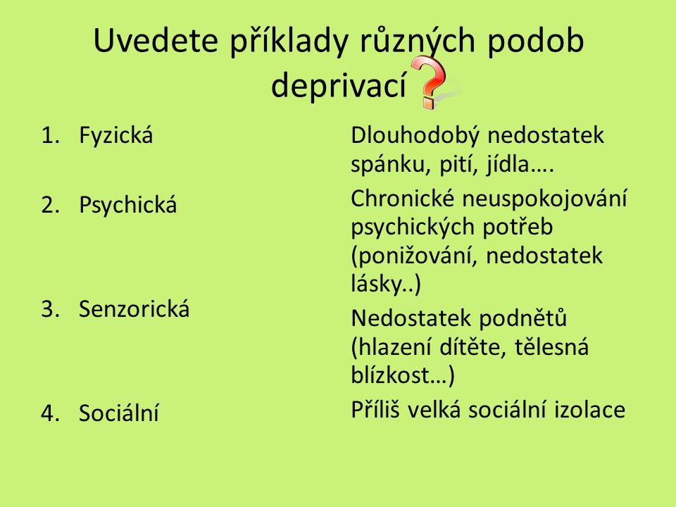 Uvedete příklady různých podob deprivací 1.Fyzická 2.Psychická 3.Senzorická 4.Sociální Dlouhodobý nedostatek spánku, pití, jídla….