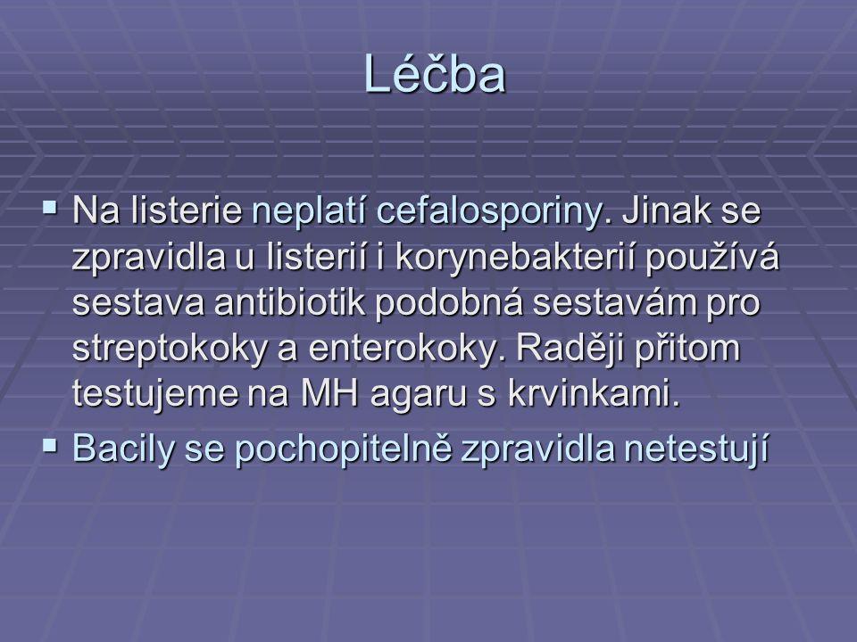 Léčba  Na listerie neplatí cefalosporiny. Jinak se zpravidla u listerií i korynebakterií používá sestava antibiotik podobná sestavám pro streptokoky