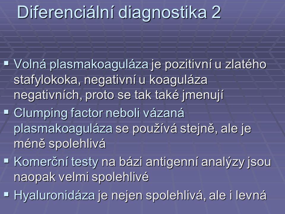 Diferenciální diagnostika 2  Volná plasmakoaguláza je pozitivní u zlatého stafylokoka, negativní u koaguláza negativních, proto se tak také jmenují  Clumping factor neboli vázaná plasmakoaguláza se používá stejně, ale je méně spolehlivá  Komerční testy na bázi antigenní analýzy jsou naopak velmi spolehlivé  Hyaluronidáza je nejen spolehlivá, ale i levná