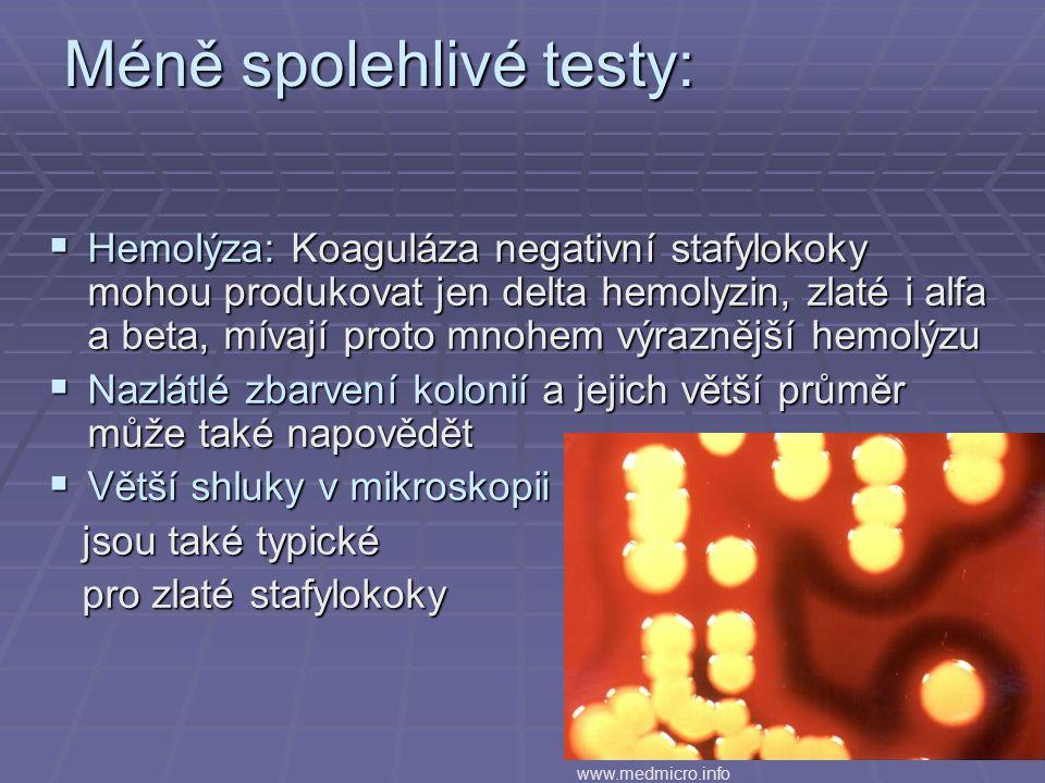 Méně spolehlivé testy:  Hemolýza: Koaguláza negativní stafylokoky mohou produkovat jen delta hemolyzin, zlaté i alfa a beta, mívají proto mnohem výraznější hemolýzu  Nazlátlé zbarvení kolonií a jejich větší průměr může také napovědět  Větší shluky v mikroskopii jsou také typické jsou také typické pro zlaté stafylokoky pro zlaté stafylokoky www.medmicro.info