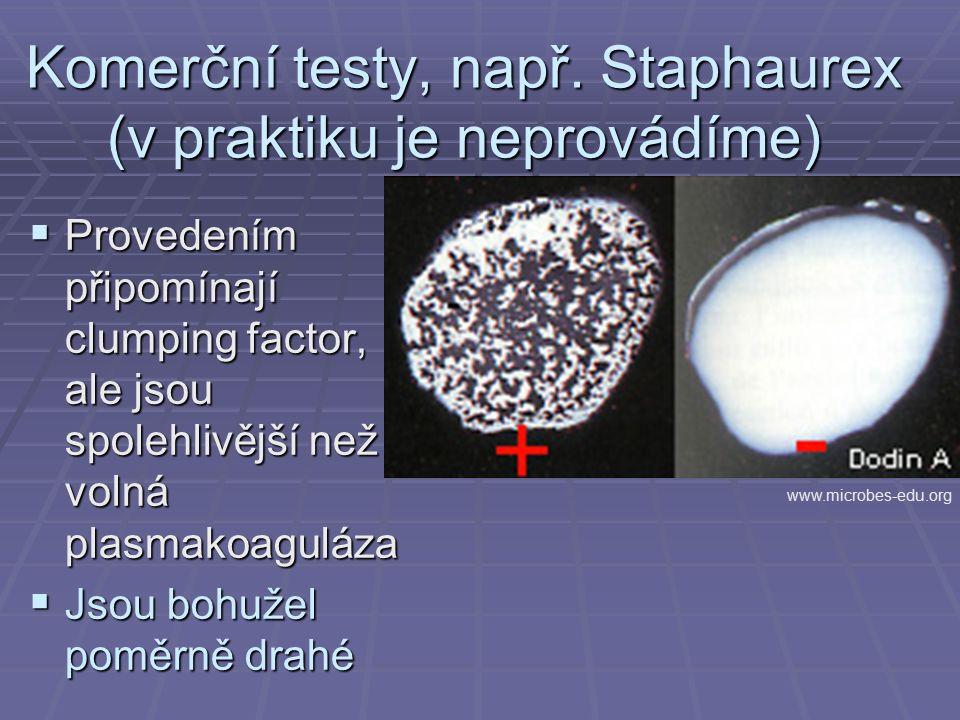 Komerční testy, např. Staphaurex (v praktiku je neprovádíme)  Provedením připomínají clumping factor, ale jsou spolehlivější než volná plasmakoaguláz