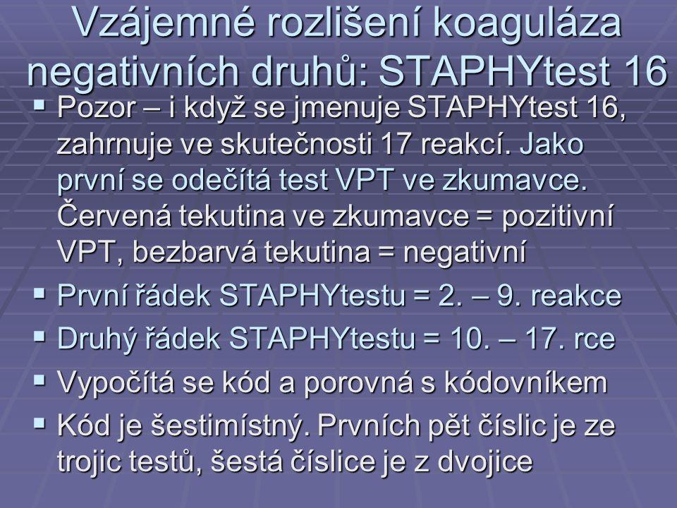 Vzájemné rozlišení koaguláza negativních druhů: STAPHYtest 16  Pozor – i když se jmenuje STAPHYtest 16, zahrnuje ve skutečnosti 17 reakcí. Jako první