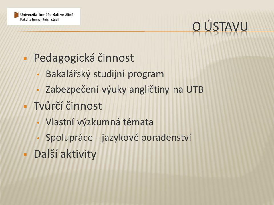  Pedagogická činnost Bakalářský studijní program Zabezpečení výuky angličtiny na UTB  Tvůrčí činnost Vlastní výzkumná témata Spolupráce - jazykové p