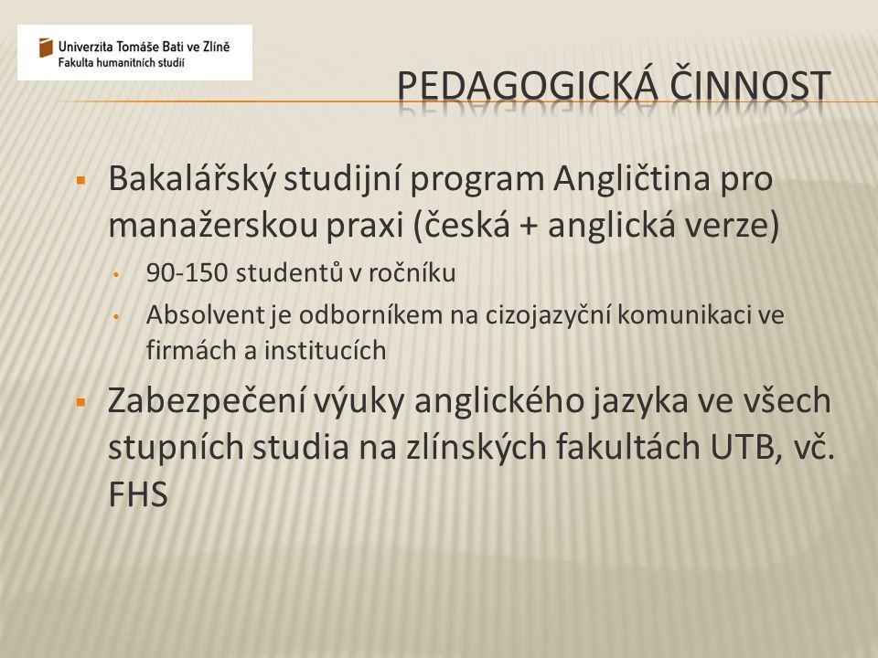  Bakalářský studijní program Angličtina pro manažerskou praxi (česká + anglická verze) 90-150 studentů v ročníku Absolvent je odborníkem na cizojazyč