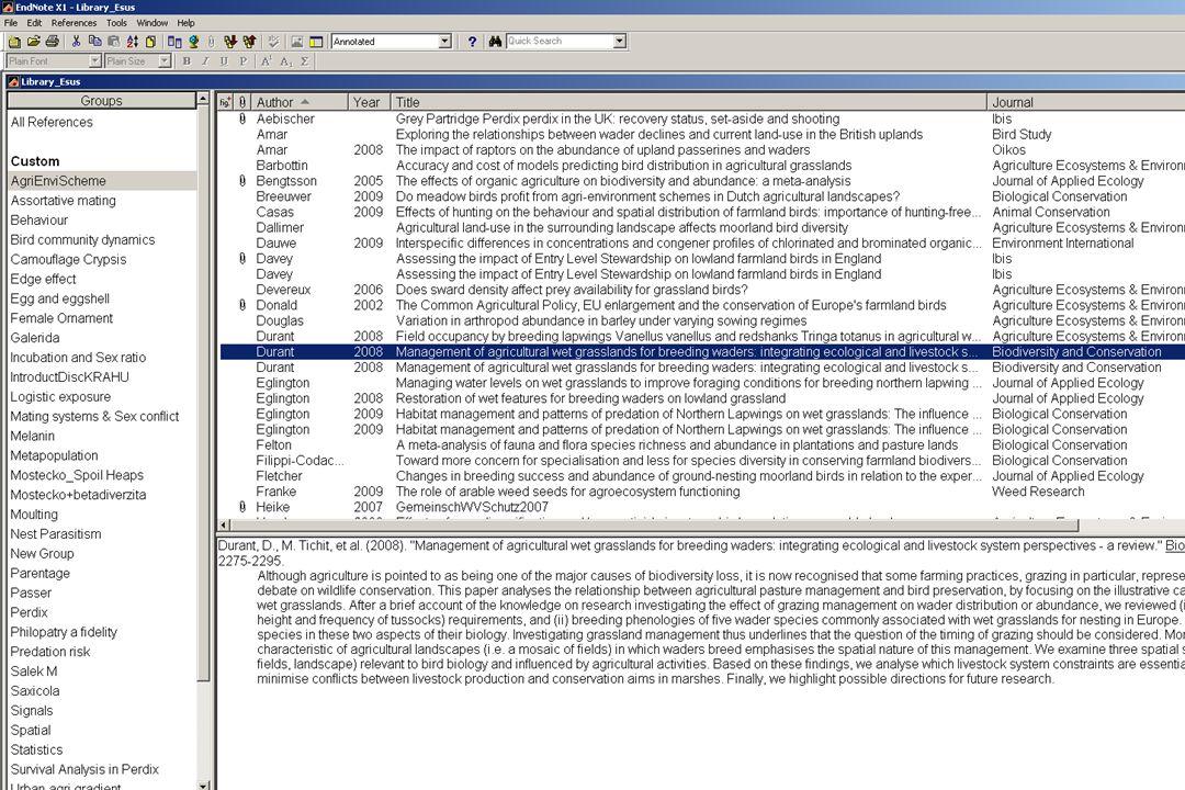 Archivace publikací  Vlastní databáze (RefMan, EndNote, Zotero), nemám-li, užiji aspoň excel či access…  Shromažďuji citace …