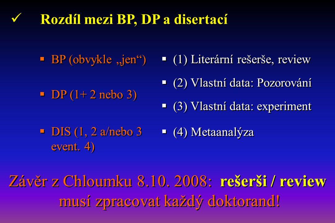 """Rozdíl mezi BP, DP a disertací  (1) Literární rešerše, review  (2) Vlastní data: Pozorování  (3) Vlastní data: experiment  (4) Metaanalýza  BP (obvykle """"jen )  DP (1+ 2 nebo 3)  DIS (1, 2 a/nebo 3 event."""