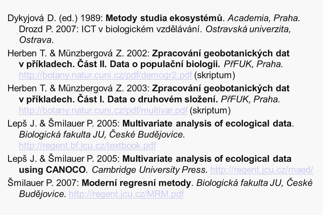 Dykyjová D. (ed.) 1989: Metody studia ekosystémů. Academia, Praha. Drozd P. 2007: ICT v biologickém vzdělávání. Ostravská univerzita, Ostrava. Herben