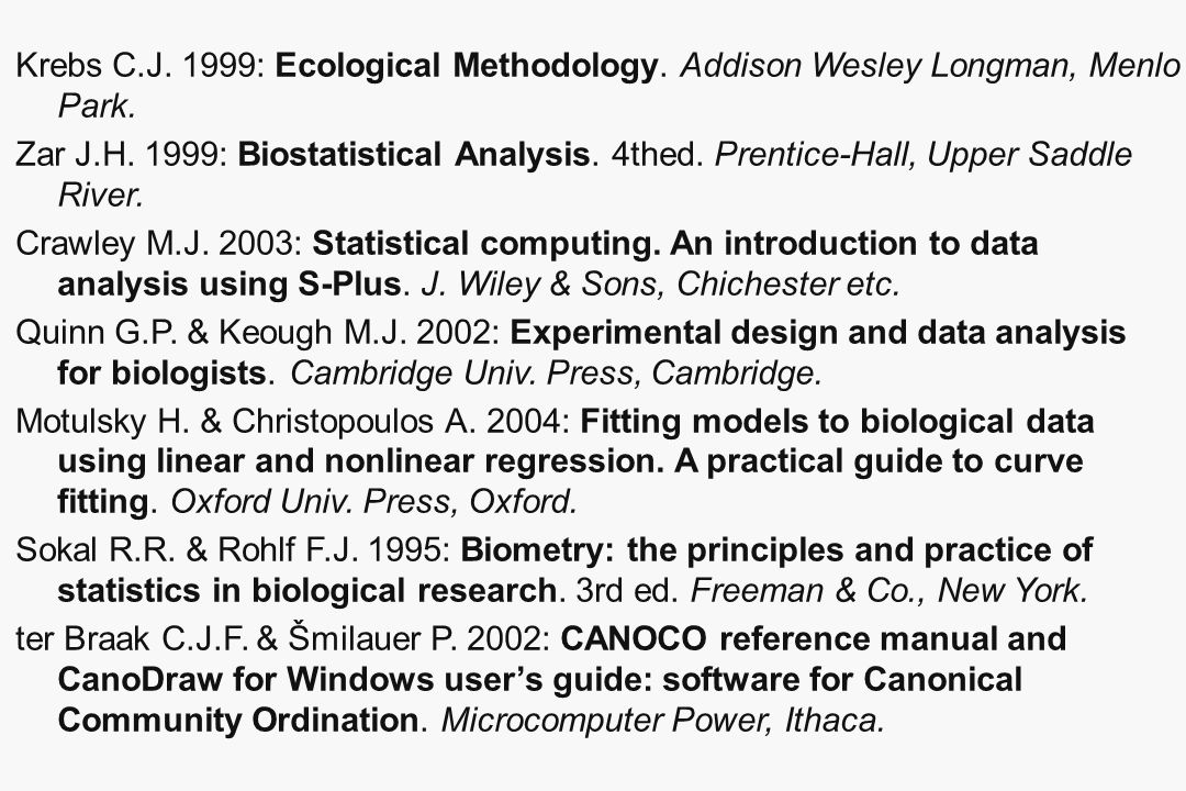Krebs C.J. 1999: Ecological Methodology. Addison Wesley Longman, Menlo Park.