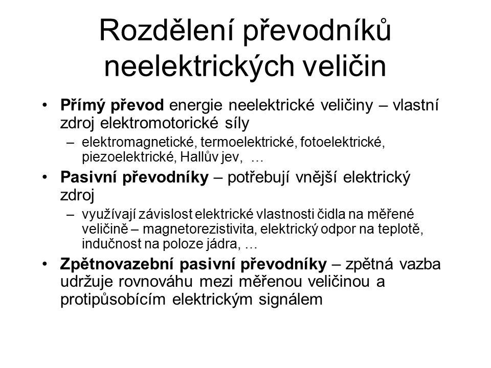 Rozdělení převodníků neelektrických veličin Přímý převod energie neelektrické veličiny – vlastní zdroj elektromotorické síly –elektromagnetické, termoelektrické, fotoelektrické, piezoelektrické, Hallův jev, … Pasivní převodníky – potřebují vnější elektrický zdroj –využívají závislost elektrické vlastnosti čidla na měřené veličině – magnetorezistivita, elektrický odpor na teplotě, indučnost na poloze jádra, … Zpětnovazební pasivní převodníky – zpětná vazba udržuje rovnováhu mezi měřenou veličinou a protipůsobícím elektrickým signálem