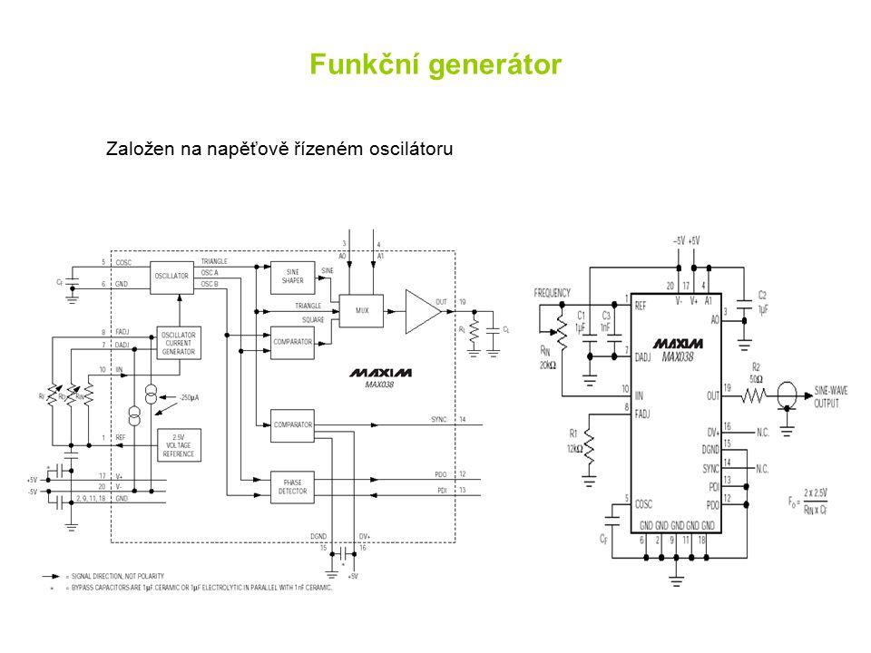 Funkční generátor Založen na napěťově řízeném oscilátoru