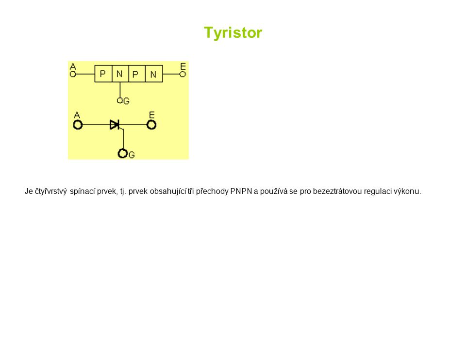 Tyristor Je čtyřvrstvý spínací prvek, tj.