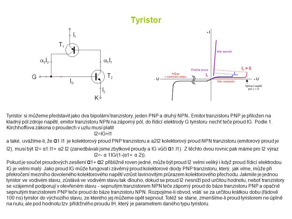 Tyristor Tyristor si můžeme představit jako dva bipolární tranzistory, jeden PNP a druhý NPN. Emitor tranzistoru PNP je přiložen na kladný pól zdroje