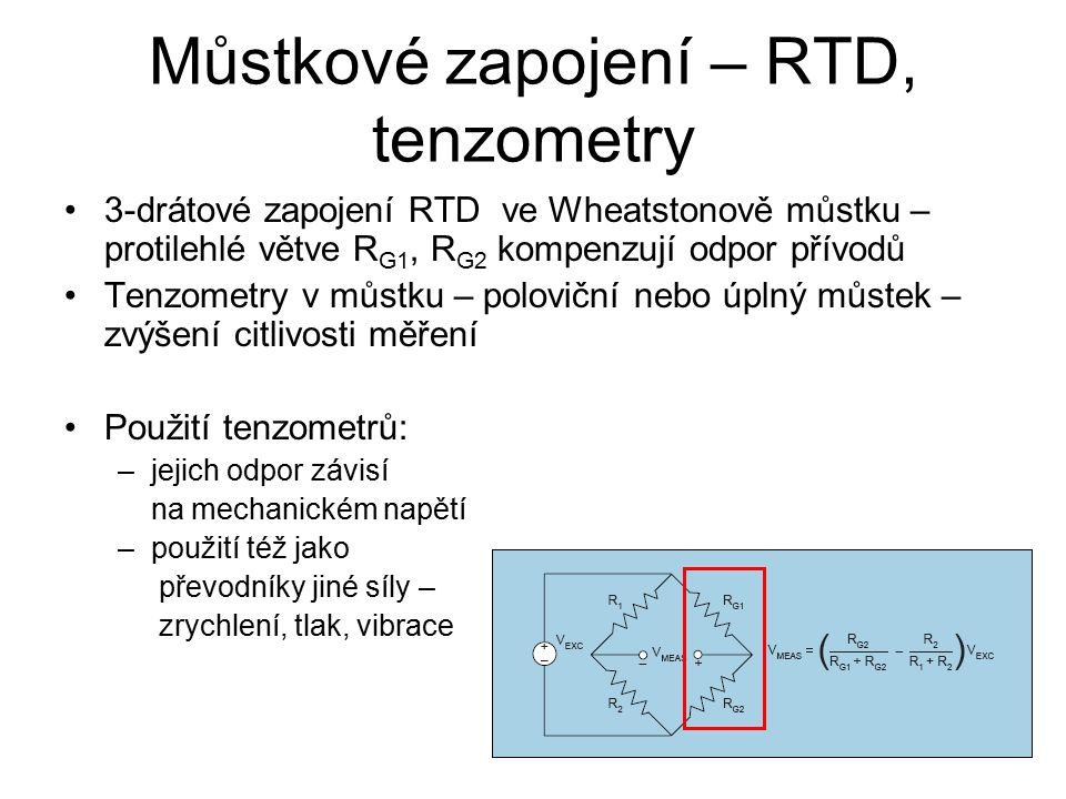 Můstkové zapojení – RTD, tenzometry 3-drátové zapojení RTD ve Wheatstonově můstku – protilehlé větve R G1, R G2 kompenzují odpor přívodů Tenzometry v