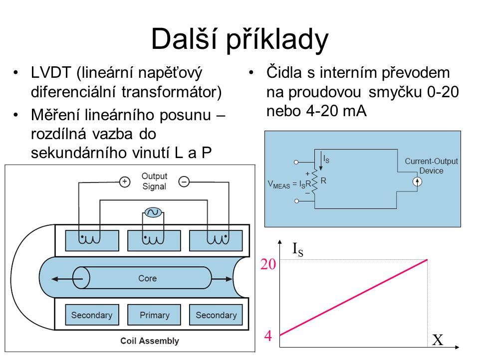 Další příklady LVDT (lineární napěťový diferenciální transformátor) Měření lineárního posunu – rozdílná vazba do sekundárního vinutí L a P Čidla s interním převodem na proudovou smyčku 0-20 nebo 4-20 mA ISIS X 4 20