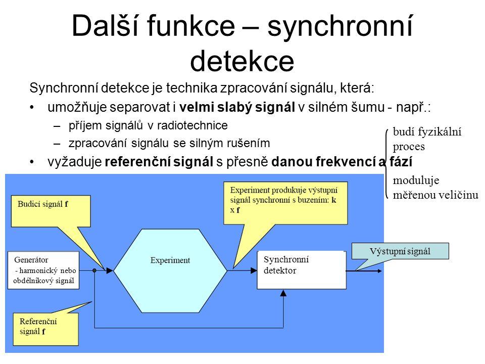 Další funkce – synchronní detekce Synchronní detekce je technika zpracování signálu, která: umožňuje separovat i velmi slabý signál v silném šumu - např.: –příjem signálů v radiotechnice –zpracování signálu se silným rušením vyžaduje referenční signál s přesně danou frekvencí a fází Výstupní signál Synchronní detektor - harmonický nebo obdélníkový signál budí fyzikální proces moduluje měřenou veličinu