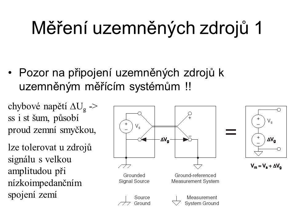 Měření uzemněných zdrojů 1 Pozor na připojení uzemněných zdrojů k uzemněným měřícím systémům !! chybové napětí  U g -> ss i st šum, působí proud zemn