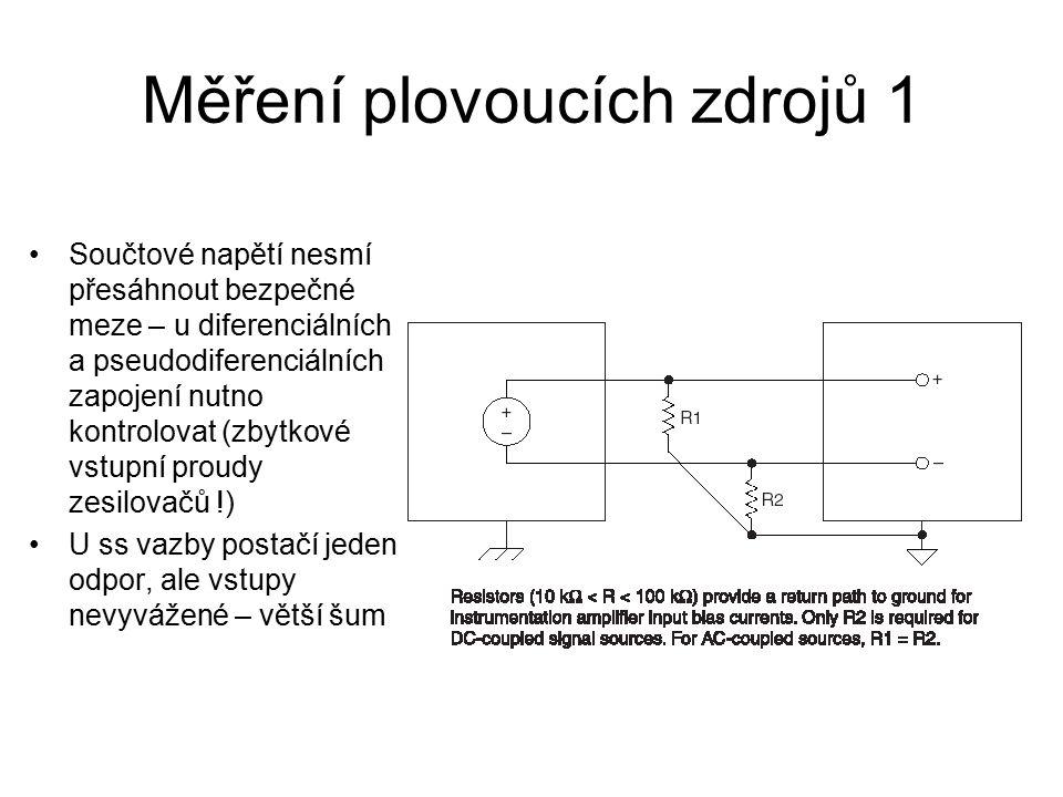 Měření plovoucích zdrojů 1 Součtové napětí nesmí přesáhnout bezpečné meze – u diferenciálních a pseudodiferenciálních zapojení nutno kontrolovat (zbytkové vstupní proudy zesilovačů !) U ss vazby postačí jeden odpor, ale vstupy nevyvážené – větší šum