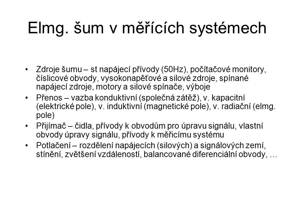 Elmg. šum v měřících systémech Zdroje šumu – st napájecí přívody (50Hz), počítačové monitory, číslicové obvody, vysokonapěťové a silové zdroje, spínan