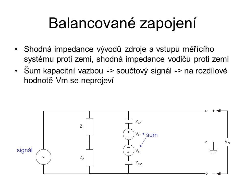 Balancované zapojení Shodná impedance vývodů zdroje a vstupů měřícího systému proti zemi, shodná impedance vodičů proti zemi Šum kapacitní vazbou -> součtový signál -> na rozdílové hodnotě Vm se neprojeví šum ~ signál