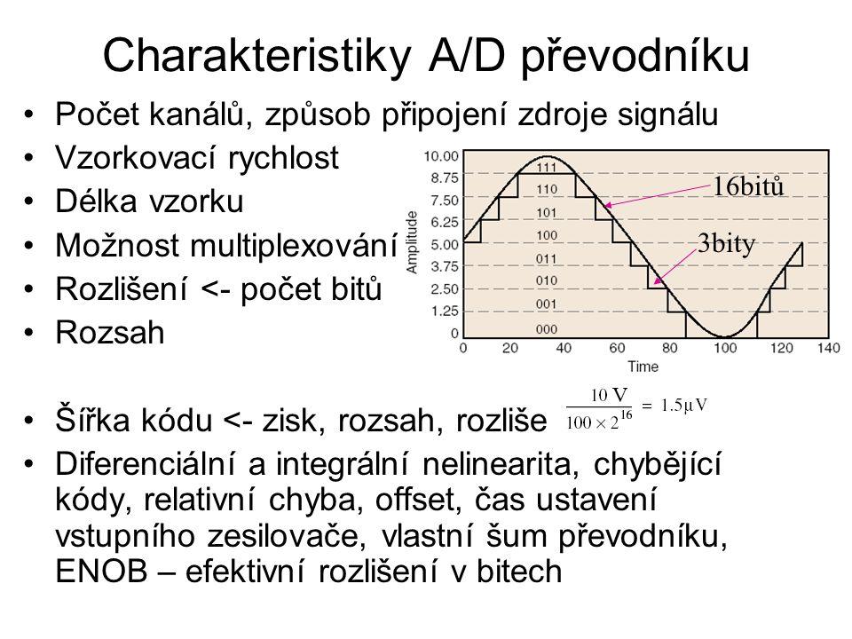 Charakteristiky A/D převodníku Počet kanálů, způsob připojení zdroje signálu Vzorkovací rychlost Délka vzorku Možnost multiplexování Rozlišení <- počet bitů Rozsah Šířka kódu <- zisk, rozsah, rozlišení Diferenciální a integrální nelinearita, chybějící kódy, relativní chyba, offset, čas ustavení vstupního zesilovače, vlastní šum převodníku, ENOB – efektivní rozlišení v bitech V 16bitů 3bity