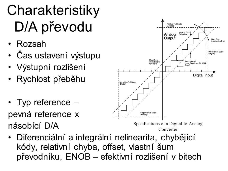Charakteristiky D/A převodu Rozsah Čas ustavení výstupu Výstupní rozlišení Rychlost přeběhu Typ reference – pevná reference x násobící D/A Diferenciální a integrální nelinearita, chybějící kódy, relativní chyba, offset, vlastní šum převodníku, ENOB – efektivní rozlišení v bitech