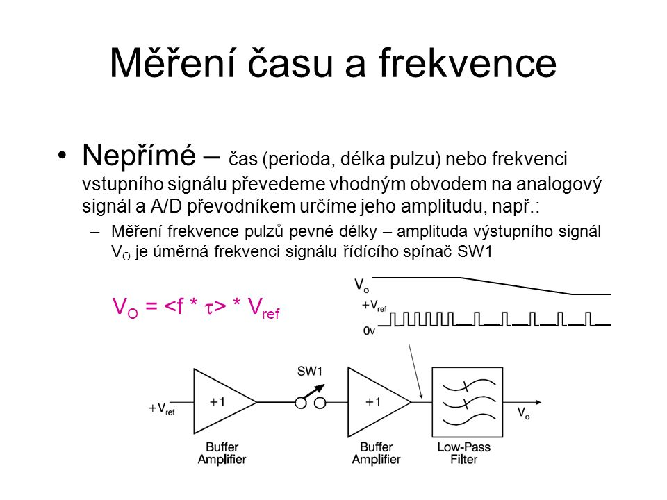 Měření času a frekvence Nepřímé – čas (perioda, délka pulzu) nebo frekvenci vstupního signálu převedeme vhodným obvodem na analogový signál a A/D převodníkem určíme jeho amplitudu, např.: –Měření frekvence pulzů pevné délky – amplituda výstupního signál V O je úměrná frekvenci signálu řídícího spínač SW1 V O = * V ref