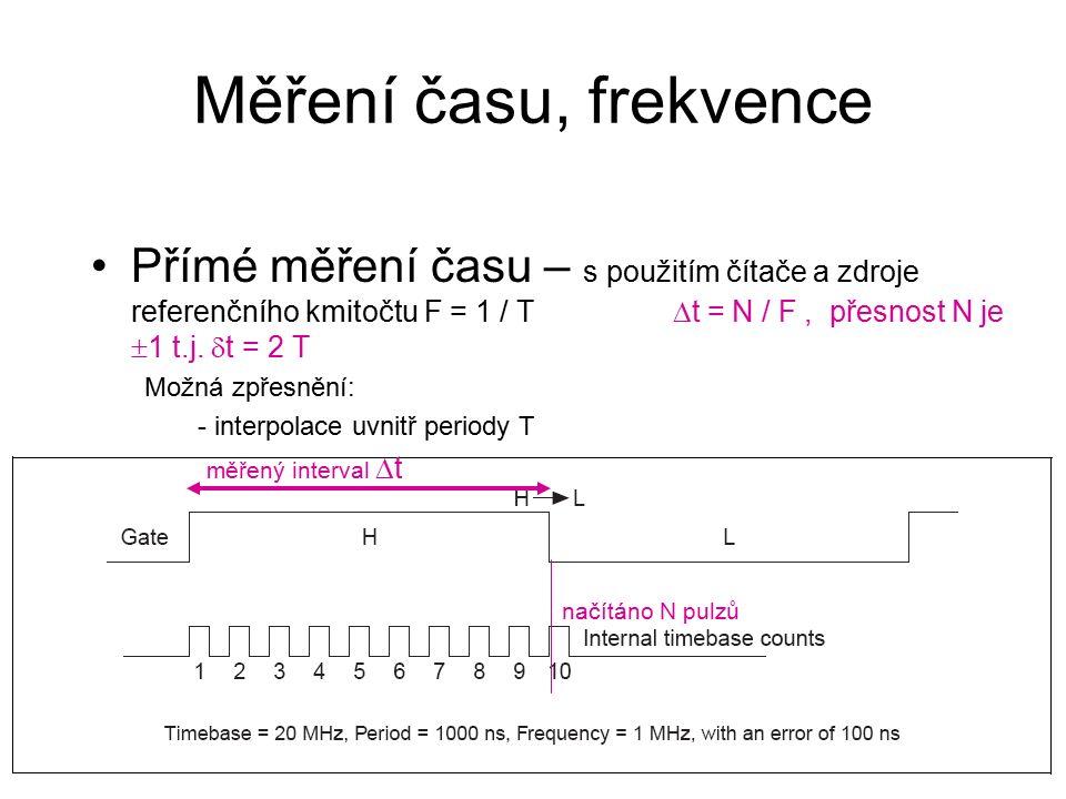 Měření času, frekvence Přímé měření času – s použitím čítače a zdroje referenčního kmitočtu F = 1 / T  t = N / F, přesnost N je  1 t.j.
