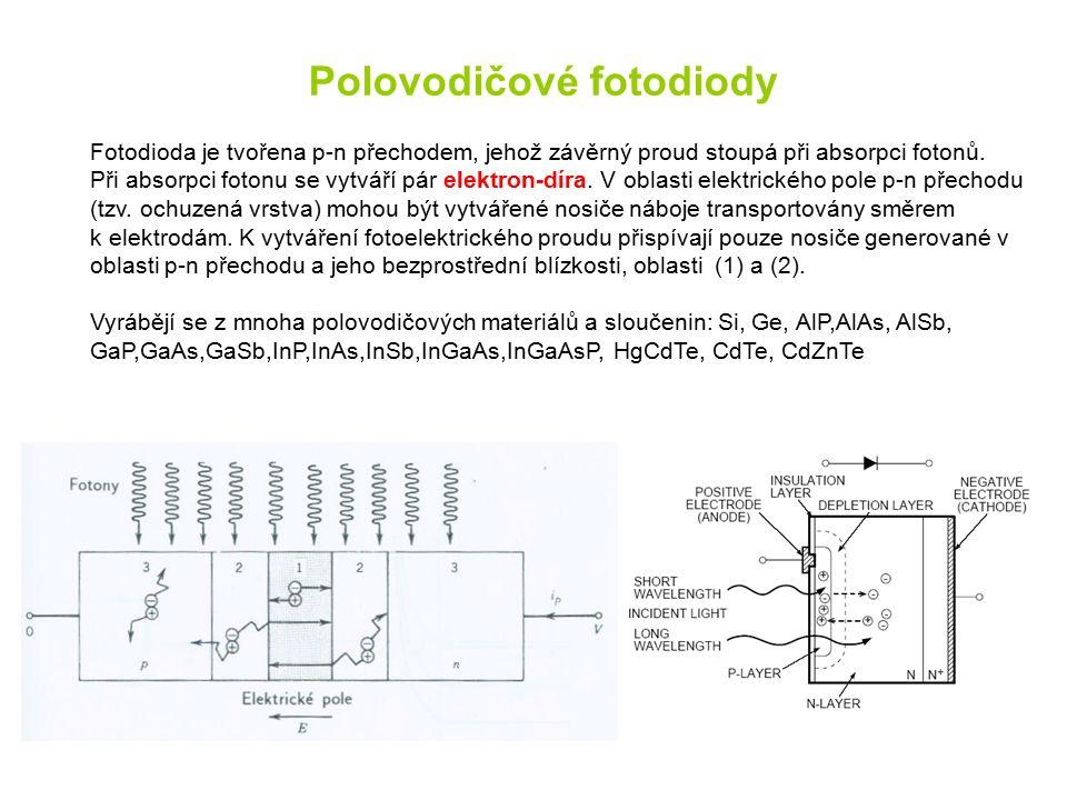 Polovodičové fotodiody Fotodioda je tvořena p-n přechodem, jehož závěrný proud stoupá při absorpci fotonů. Při absorpci fotonu se vytváří pár elektron