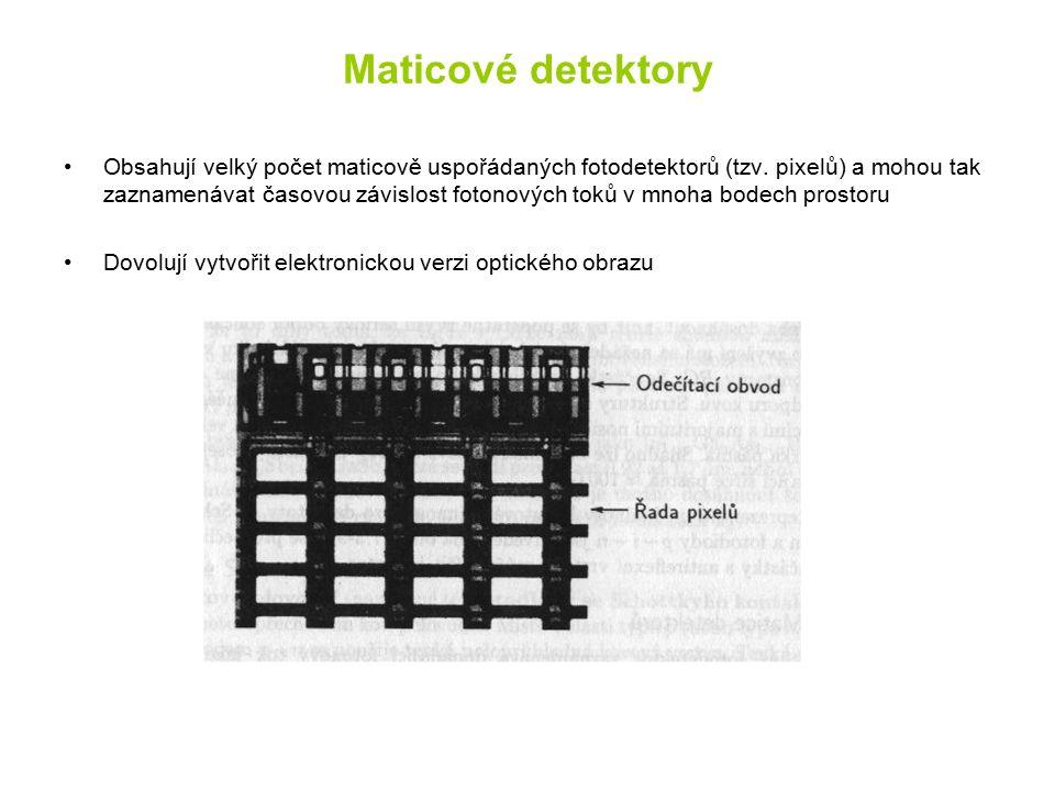 Maticové detektory Obsahují velký počet maticově uspořádaných fotodetektorů (tzv. pixelů) a mohou tak zaznamenávat časovou závislost fotonových toků v