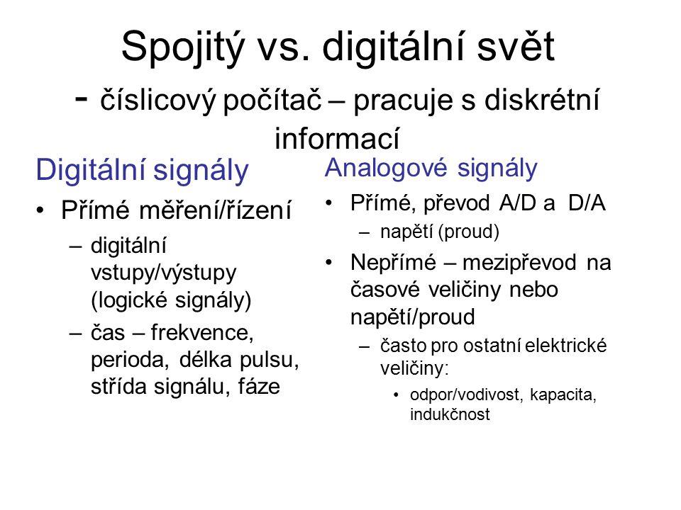 Spojitý vs. digitální svět - číslicový počítač – pracuje s diskrétní informací Digitální signály Přímé měření/řízení –digitální vstupy/výstupy (logick