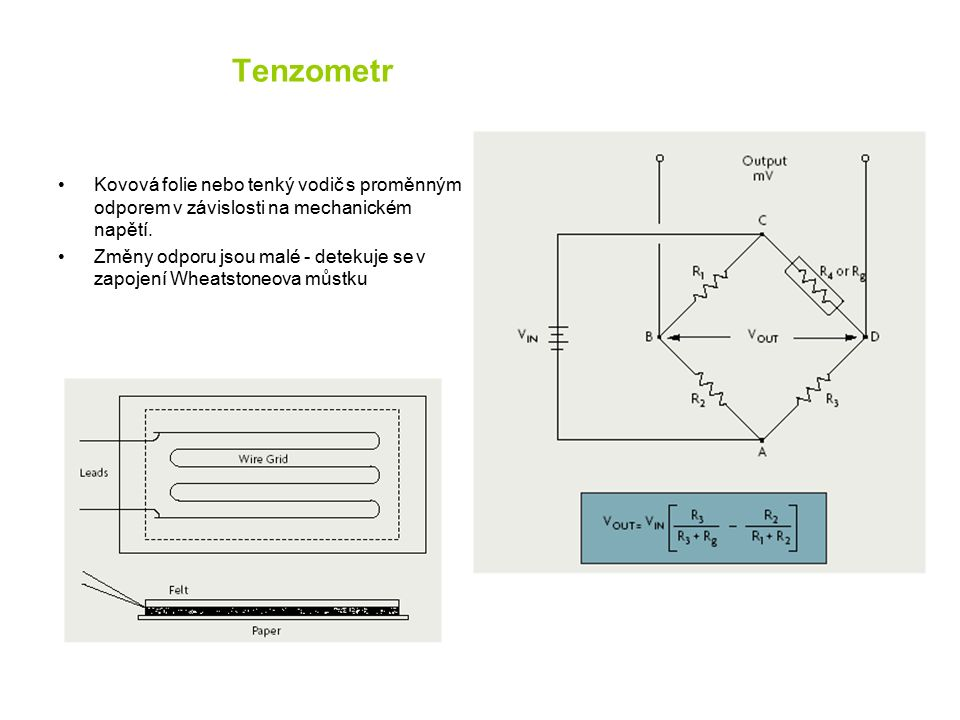 Tenzometr Kovová folie nebo tenký vodič s proměnným odporem v závislosti na mechanickém napětí.