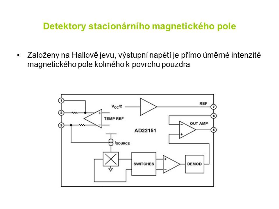 Detektory stacionárního magnetického pole Založeny na Hallově jevu, výstupní napětí je přímo úměrné intenzitě magnetického pole kolmého k povrchu pouzdra